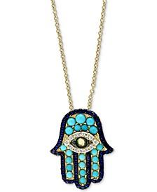 "EFFY® Multi-Gemstone Hamsa 18"" Pendant Necklace In 14k Gold"
