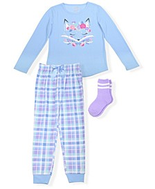 Big Girls Plaid  2 Piece Pajama Set with Cozy Socks