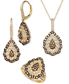 Chocolate Diamond & Nude Diamond Teardrop Cluster Jewelry Collection in 14k Gold