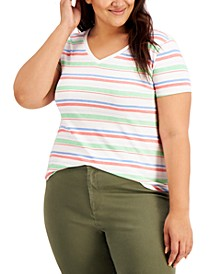 Plus Size Burnout Printed V-Neck Top, Created for Macy's