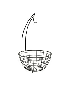 Grid Small Fruit Tree, Space Saving Fruit Holder with Attached Banana Stand, Open Basket Design to Keep Produce Fresh Longe