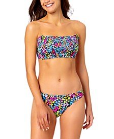 Juniors' Floral-Print Bandeau Bikini Top & Hipster Bottoms, Created for Macy's