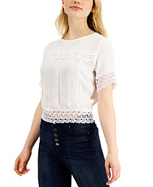 Juniors' Lace-Trim Tie-Back Top