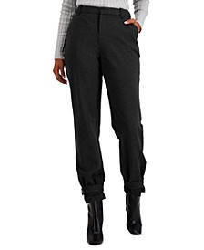 INC Tapered Belted-Hem Pants, Created for Macy's