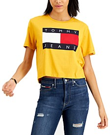 Cotton Cropped Flag T-Shirt