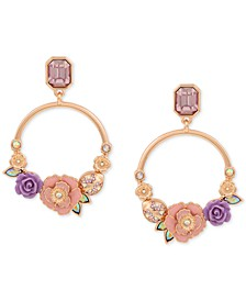 Gold-Tone Flower Garden Front Facing Hoop Earrings