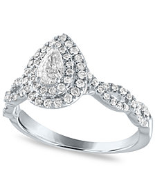 Diamond Pear Double Halo Engagement Ring (5/8 ct. t.w.) in 14k White Gold