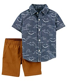 Toddler Boys 2 Piece Chambray Button-Front Shirt Short Set