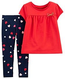 Toddler Girls 2 Piece Heart Top Legging Set