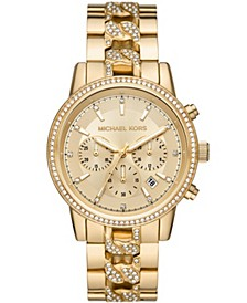 Women's Ritz Chronograph Gold-Tone Stainless Steel Bracelet Watch 41mm