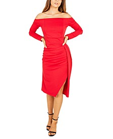 Ruched Wrap-Skirt Dress