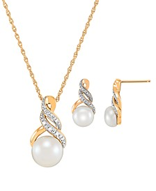Cultured Freshwater Pearl (8 & 9mm) and Diamond Accent Pendant Necklace and Earrings Set in Sterling Silver or 14k Gold Over Silver