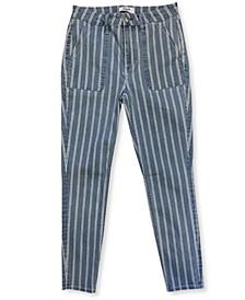 Striped Cargo Skinny Jeans