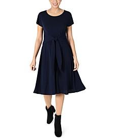 Petite Front-Tie Fit & Flare Dress