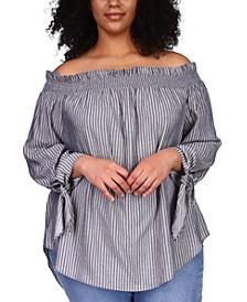 Plus Size Lurex Off-The-Shoulder Top