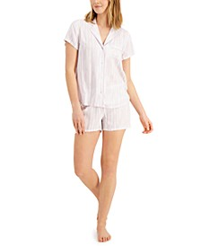 Printed Notch Collar Pajama Shorts Set, Created for Macy's