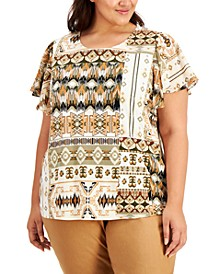 Plus Size Printed Ruffle-Sleeve Top