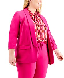 Plus Size Ruched-Sleeve Blazer, Created For Macy's