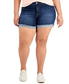 Trendy Plus Size Cuffed Denim Shorts