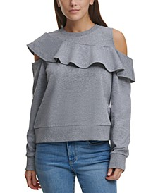 Ruffled Cold-Shoulder Sweatshirt
