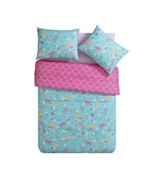 Mermaid Princess Reversible 3 Piece Comforter Set, Full