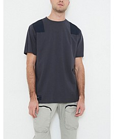 Men's Crew Neck T-shirt with Contrast Shoulder Patch