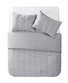 Delaney Seersucker Stripe 3 Piece Comforter Set, Full/Queen