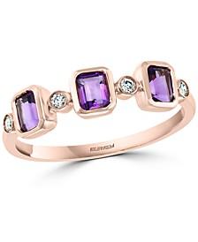 EFFY® Amethyst (1/2 ct. t.w.) & Diamond (1/20 ct. t.w.) Statement Ring in 14k Rose Gold