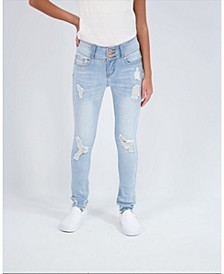 Big Girls 3 Button Skinny Jeans