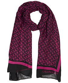 Chain-Print Chiffon Oblong Scarf