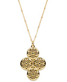 Gold-Tone Filigree Circle Cluster 21-1/2' Long Pendant Necklace