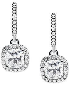 Silver-Tone Halo Huggie Drop Earrings