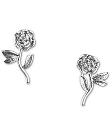 Silver-Tone Rose Drop Earrings