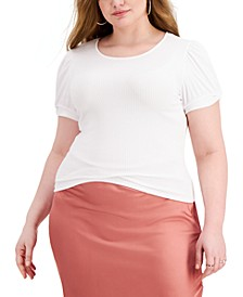 Trendy Plus Size Puff-Sleeve T-Shirt
