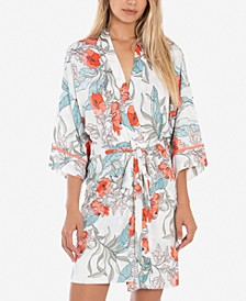 Tropical-Print Wrap Robe