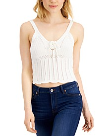 Juniors' Lace-Up Sweater Top