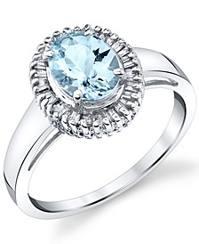 Aquamarine (1-1/10 ct. t.w.) & Diamond (1/3 ct. t.w.) Halo Ring in 14k White Gold