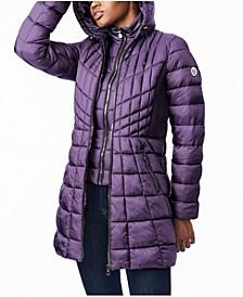 EcoPlume Bibbed Packable Hooded Puffer Coat