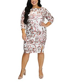 Women's Plus Size Foil Print Lace Midi Dress