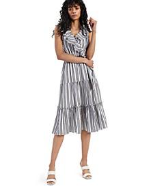 INC Sleeveless Ruffled Faux-Wrap Midi Dress, Created for Macy's