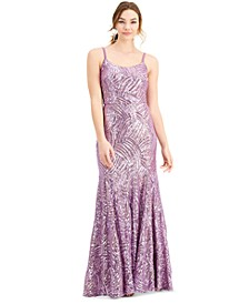 Juniors' Lace-Up-Back Sequin Gown