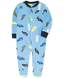 Baby Boys Shoe-Print Footed Cotton Coverall