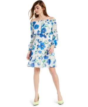 Off-The-Shoulder Printed Chiffon Dress