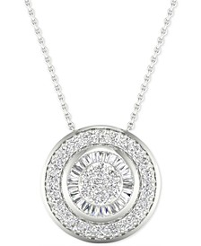 "Diamond Double Halo 18"" Pendant Necklace (1/2 ct. t.w.) in 10k White Gold"