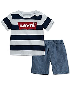Baby Boys Short Sleeve Tee Pull on Set