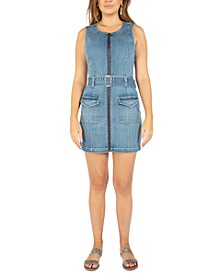 Juniors' Zip-Front Denim Mini Dress