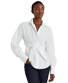 Petite Puffed Sleeve Tie-Front Top