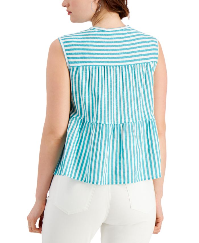 Style & Co Cotton Striped Tiered Tank Top, Created for Macy's & Reviews - Tops - Women - Macy's