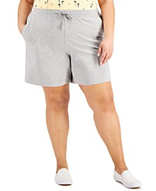 Plus Size Drawstring-Waist Knit Shorts, Created for Macy's