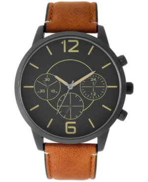 INC INTERNATIONAL CONCEPTS INC MEN'S BROWN FAUX LEATHER STRAP WATCH 45MM, CREATED FOR MACY'S